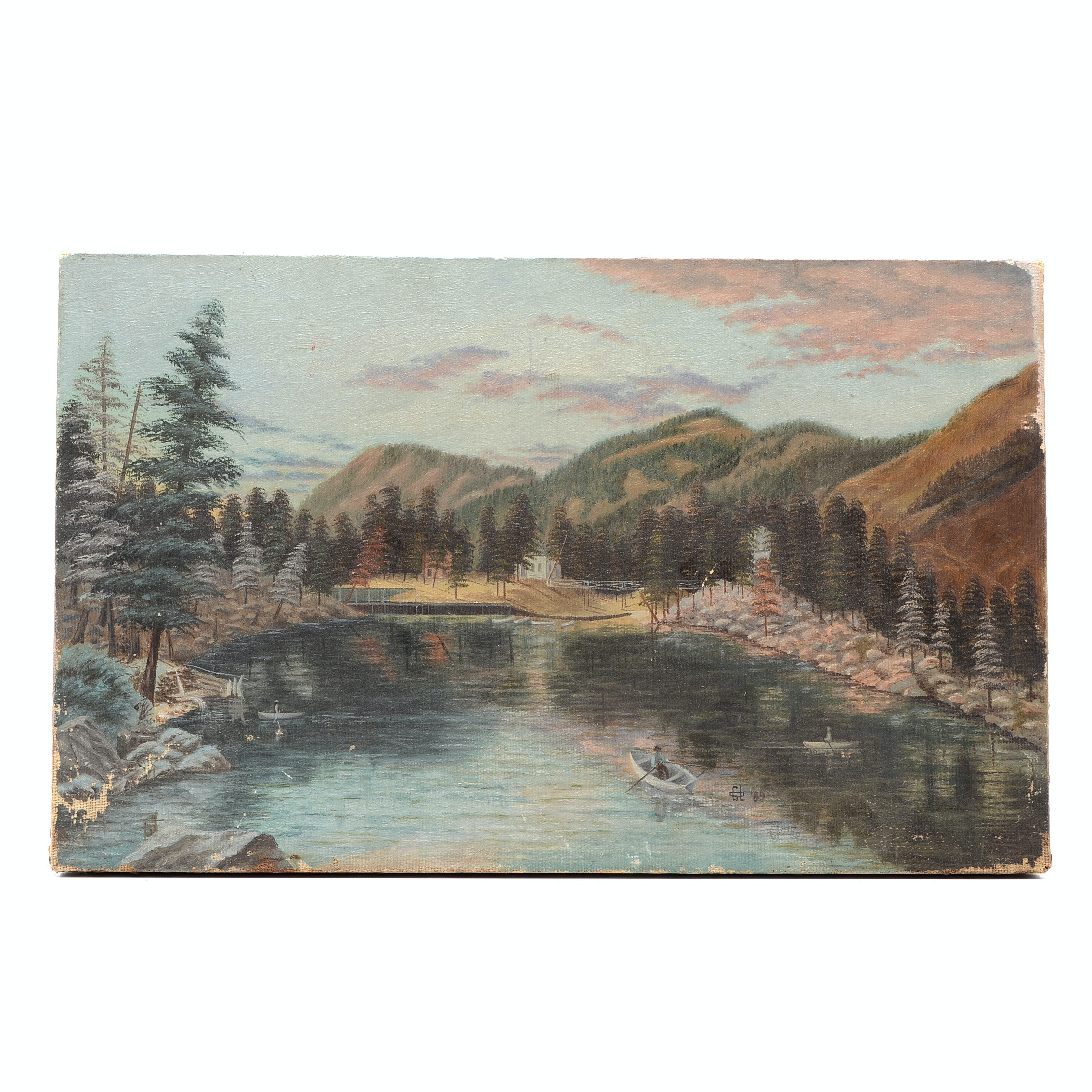 19th-Century Oil Painting on Canvas Colorado Landscape