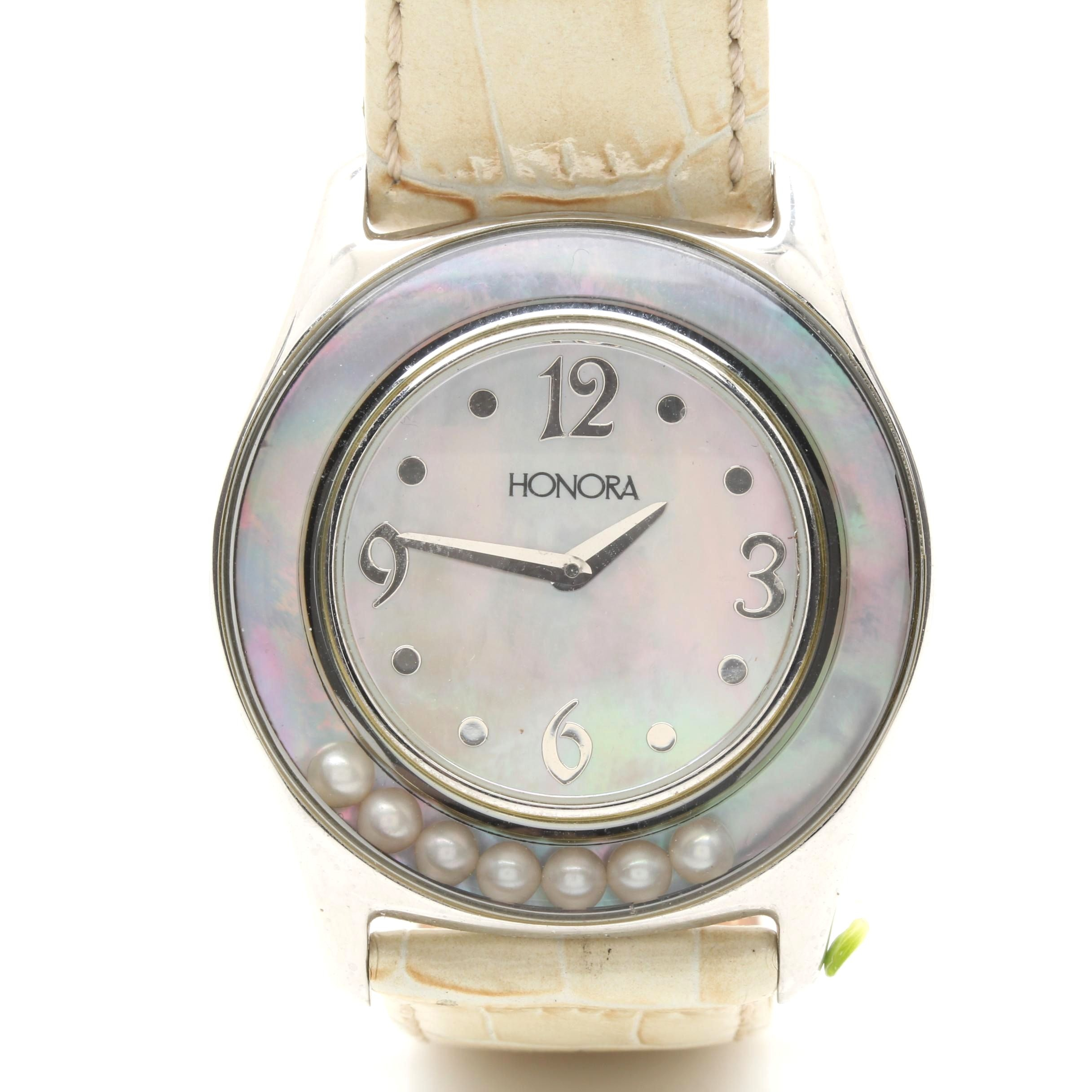 Honora Stainless Steel Analog Wristwatch with Mother of Pearl Dial