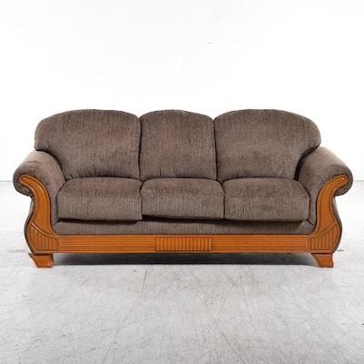 Bernhardt New Vintages Plush Olive Green Rolled Arm Sofa