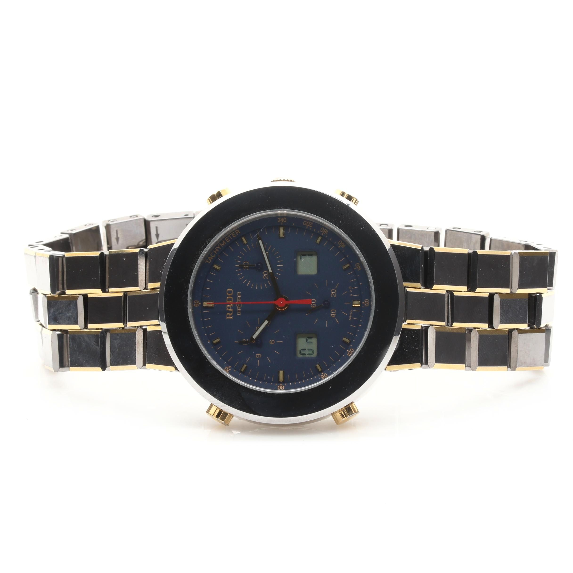 Metallic Titanium and Steel Rado Chronograph Wristwatch
