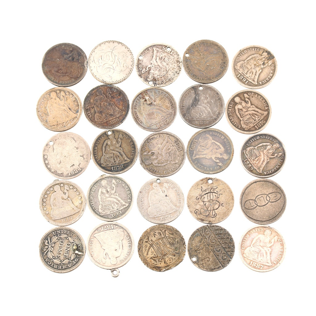 Group of Twenty-Five Seated Liberty Silver Dimes with Alterations