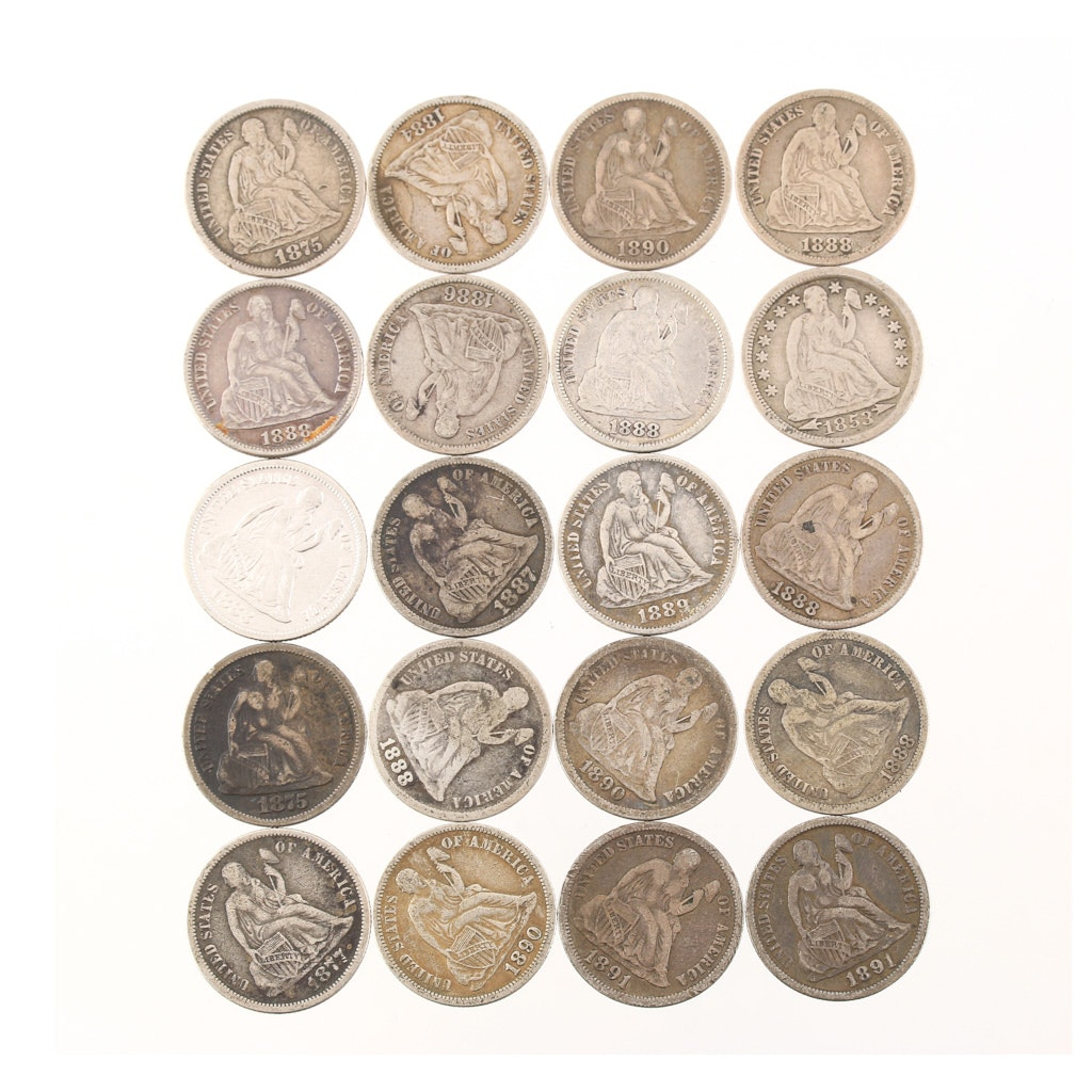 Group of Twenty Various Seated Liberty Silver Dimes from 1853-1891