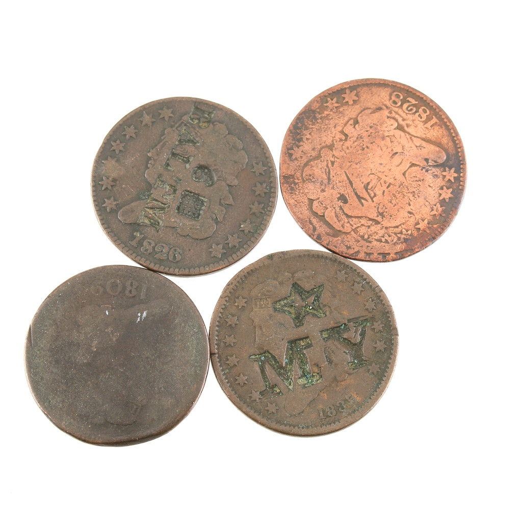 Group of Four Various U.S. Half Cents with Alterations