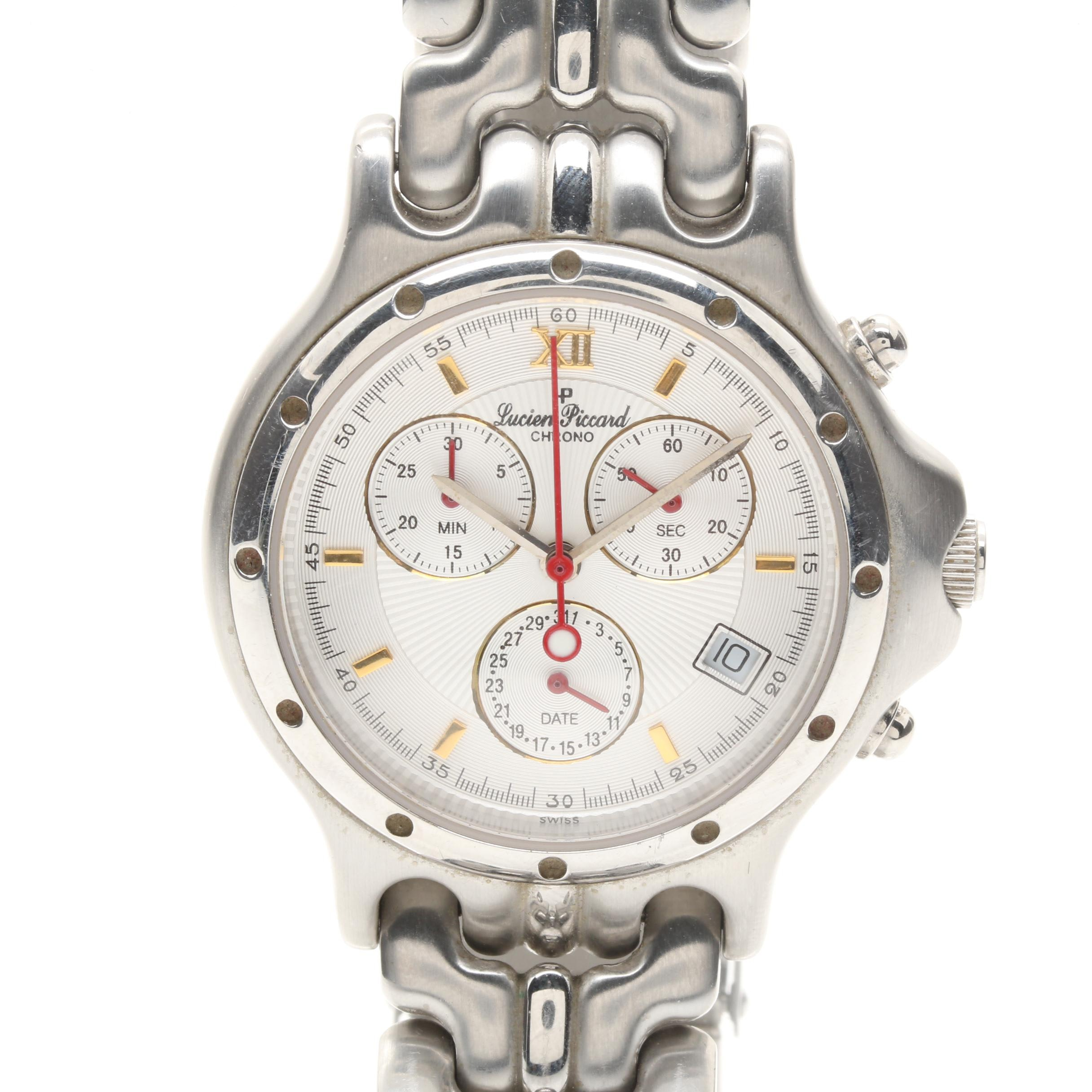 Silver Tone Lucien Piccard Chronograph Wristwatch