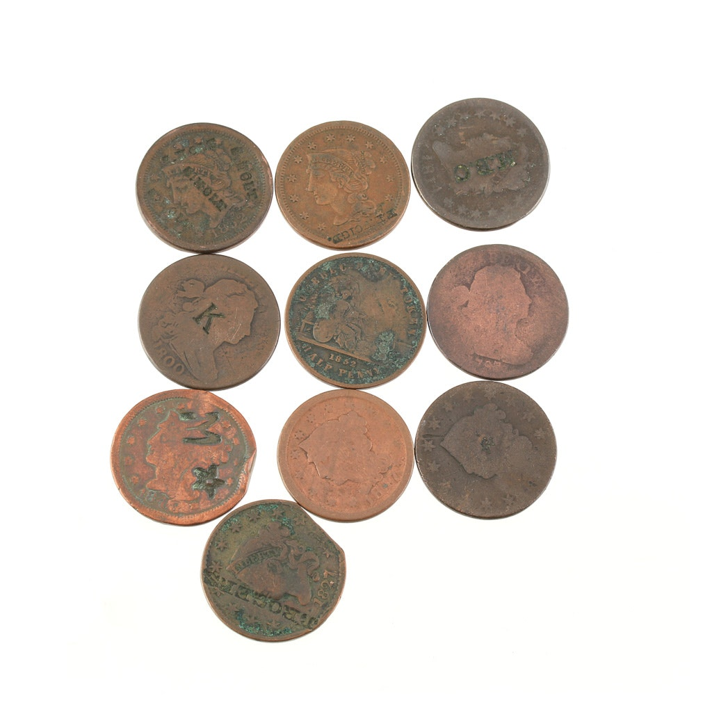 Group of Ten Various U.S. Large Cents with Alterations