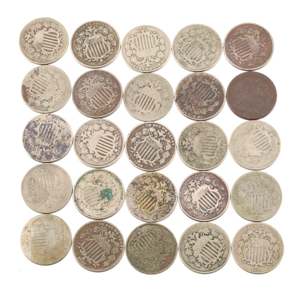 Group of Twenty-Five Shield Nickels From 1866 to 1883