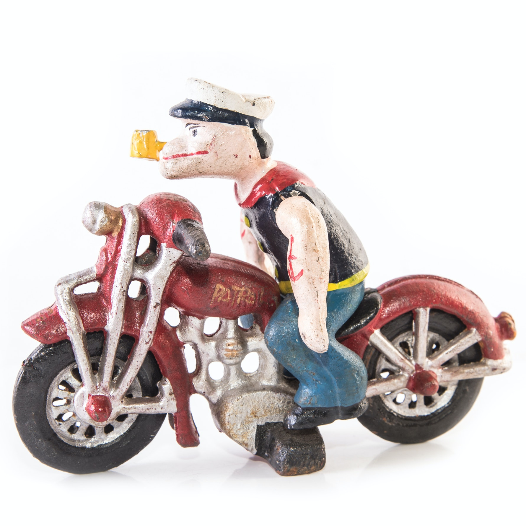 Cast Iron Popeye on Motorcycle Figure