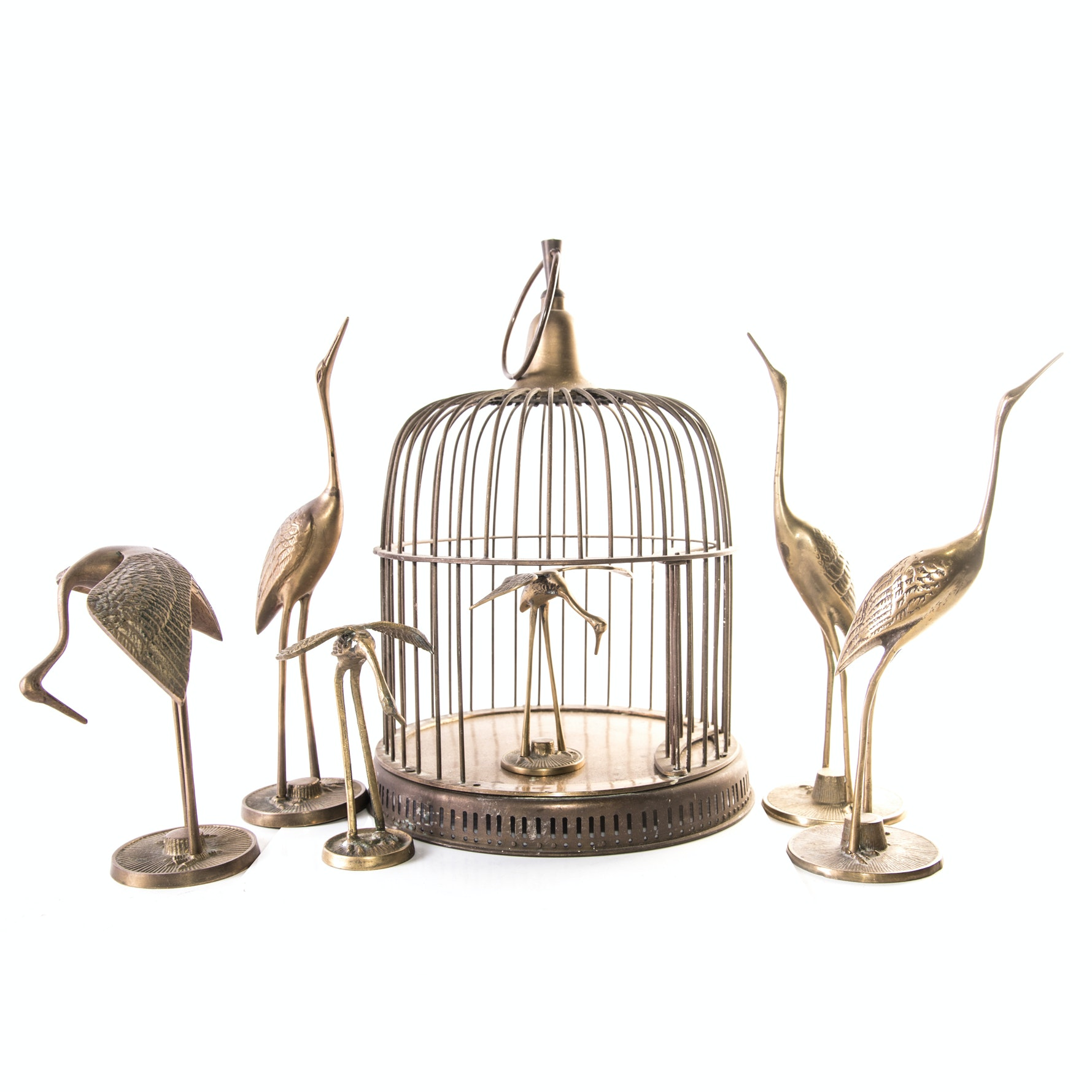 Brass Birdcage with Egret Figurines