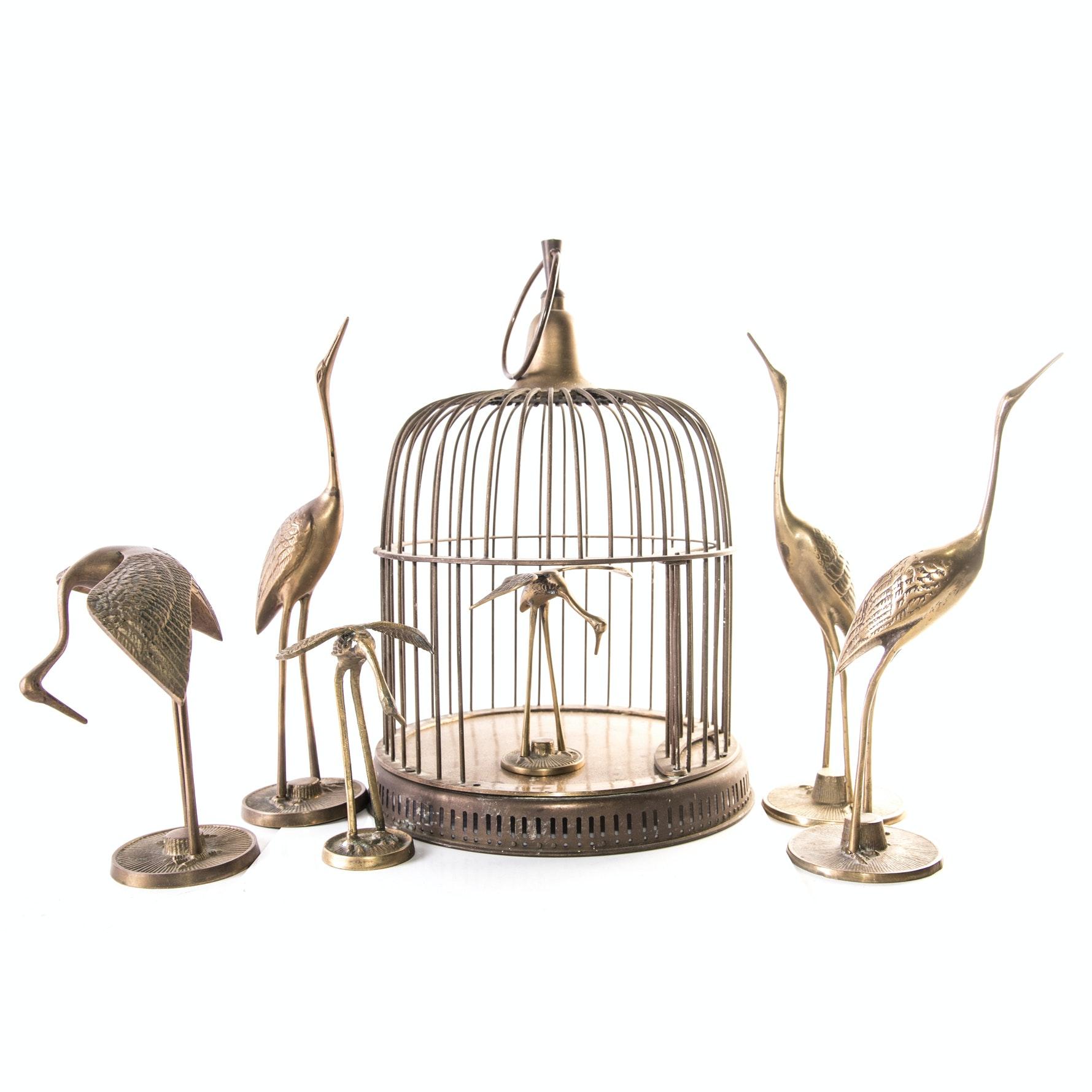 Brass Birdcage with Egret Figurines