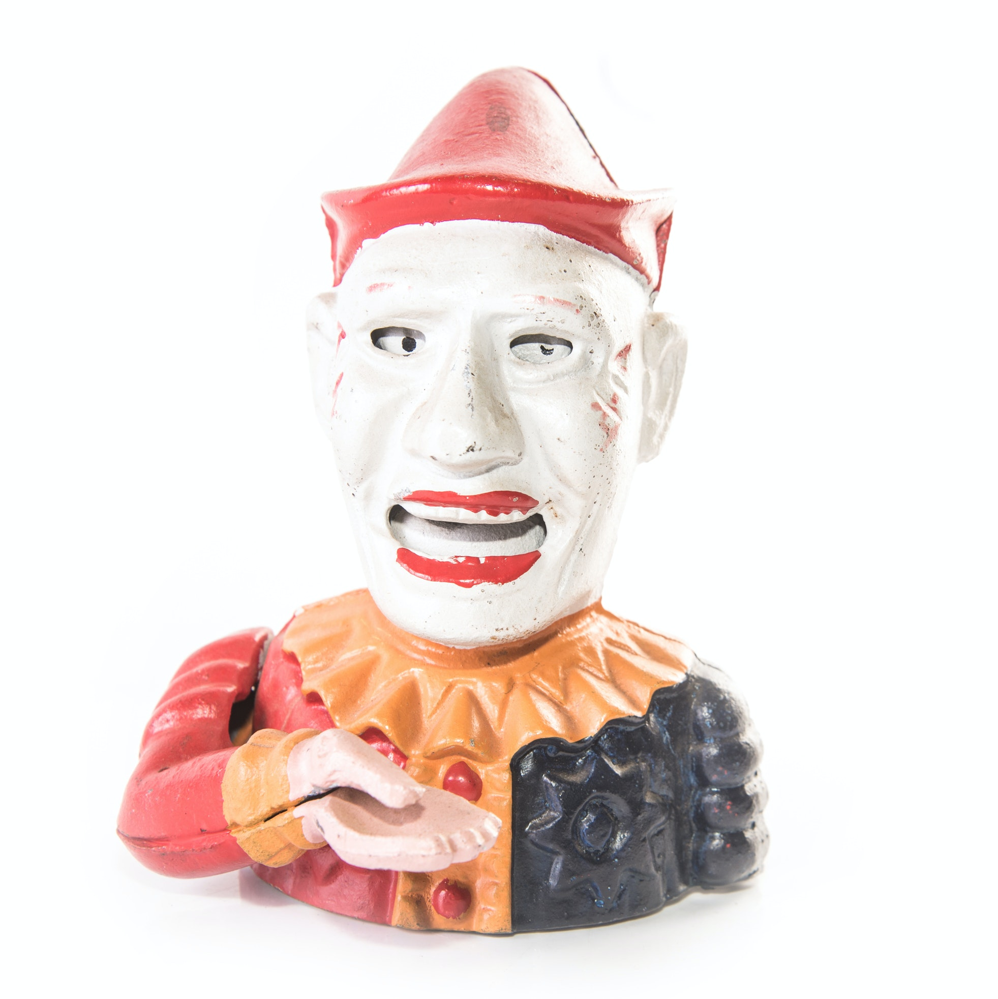 Reproduction Mechanical Cast Iron Clown Coin Bank