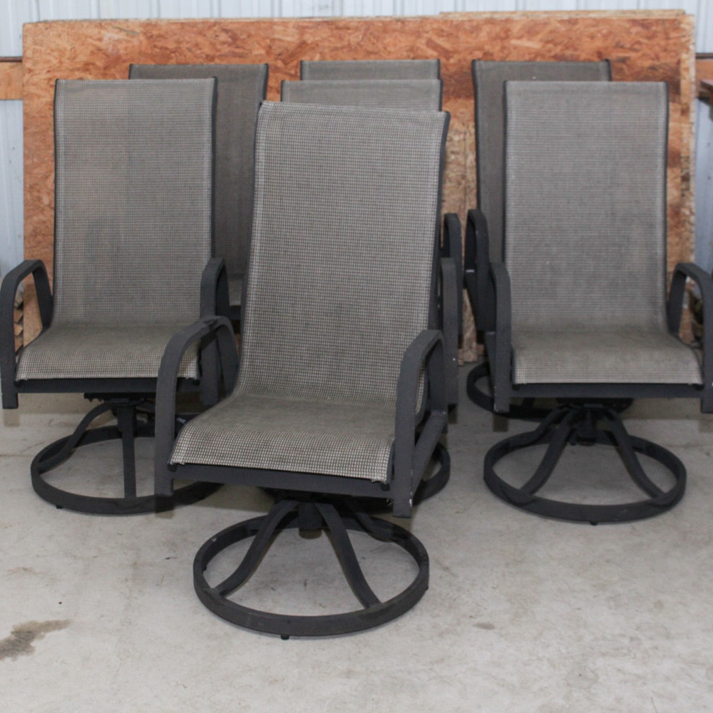 Seven High Back Patio Chairs