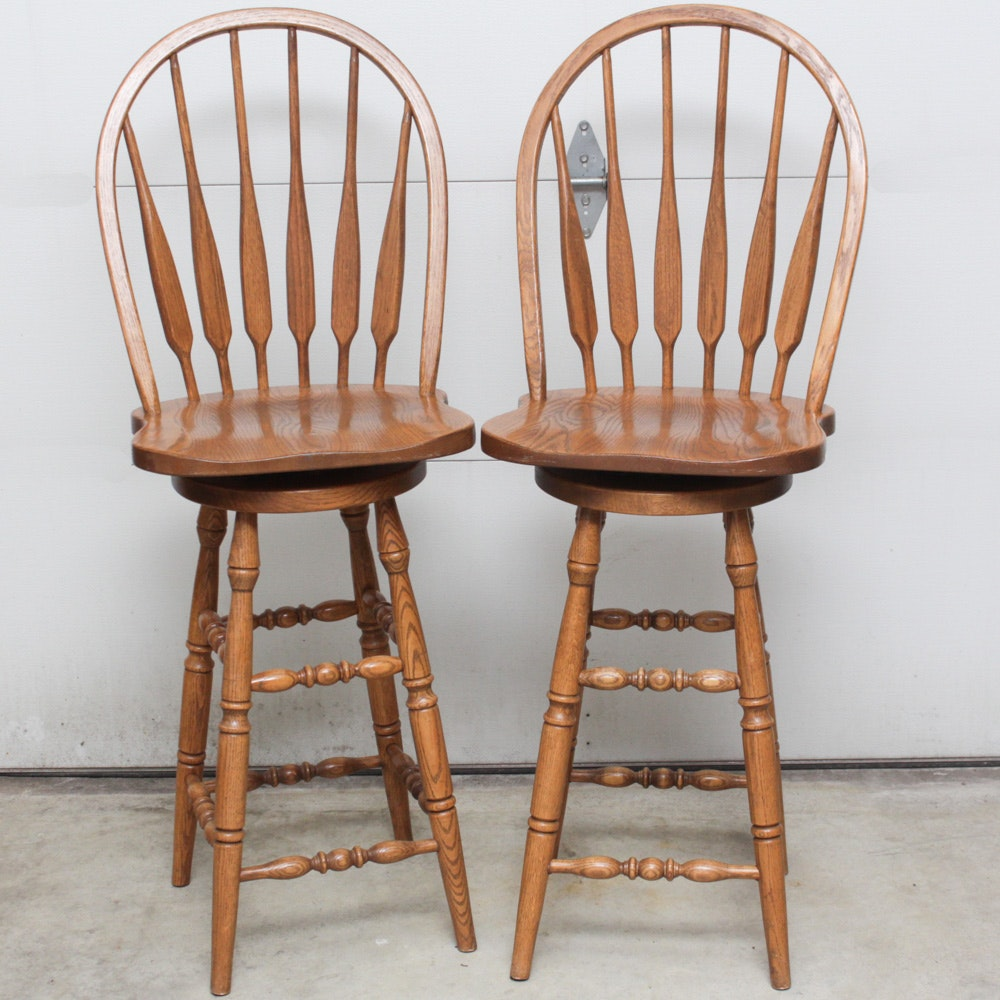 Amish Made Solid Oak Bar Height Chairs