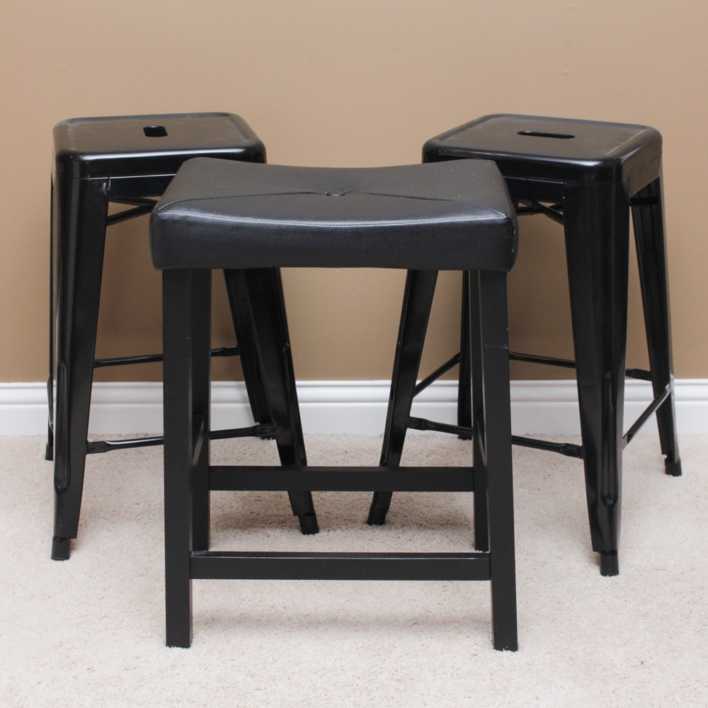 Pair of Contemporary Metal Stools and One Upholstered