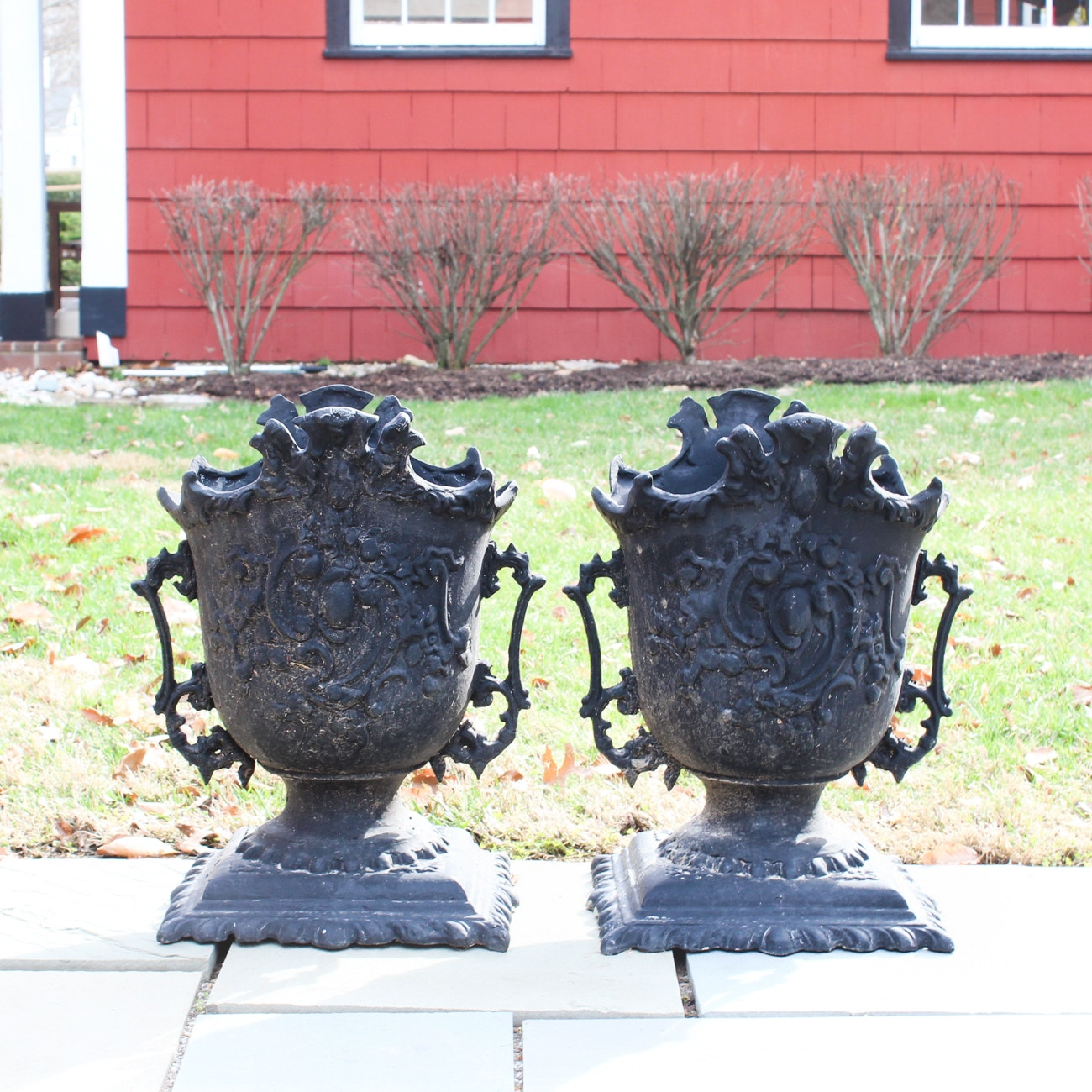 Pair of Cast Aluminum Rococo Style Planters in Black