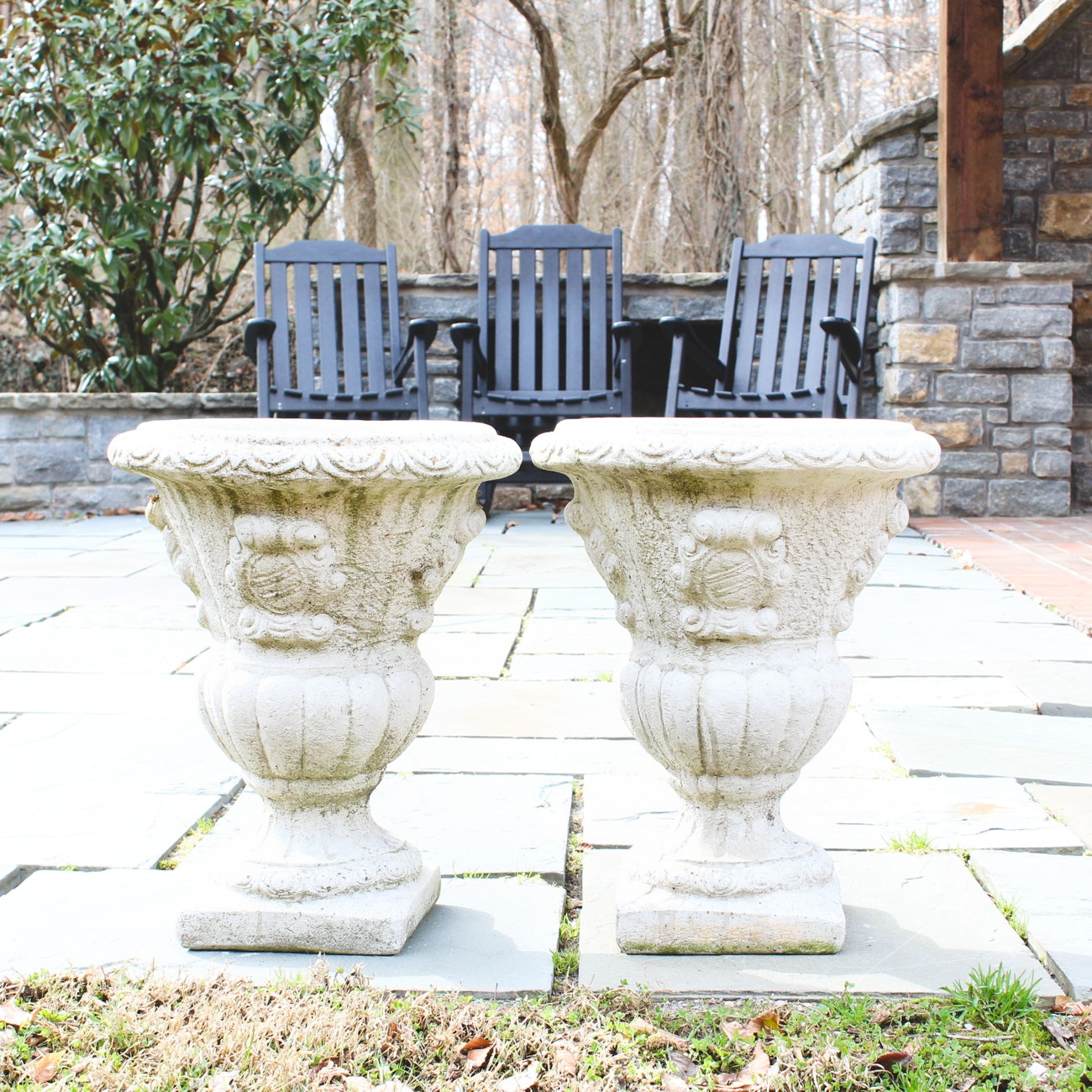 Pair of Campania International Concrete Urns