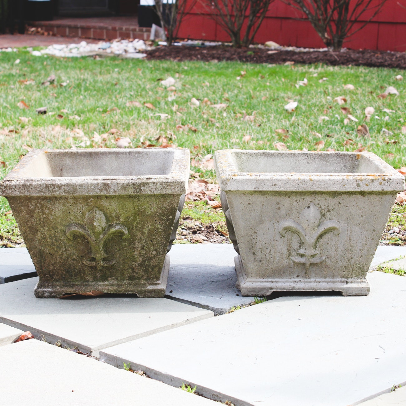 Pair of Outdoor Concrete Planters
