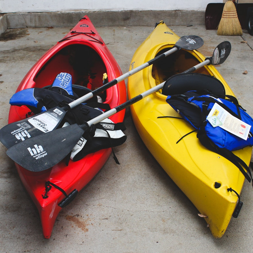 Perception Kayaks, Oars, and Life Vests