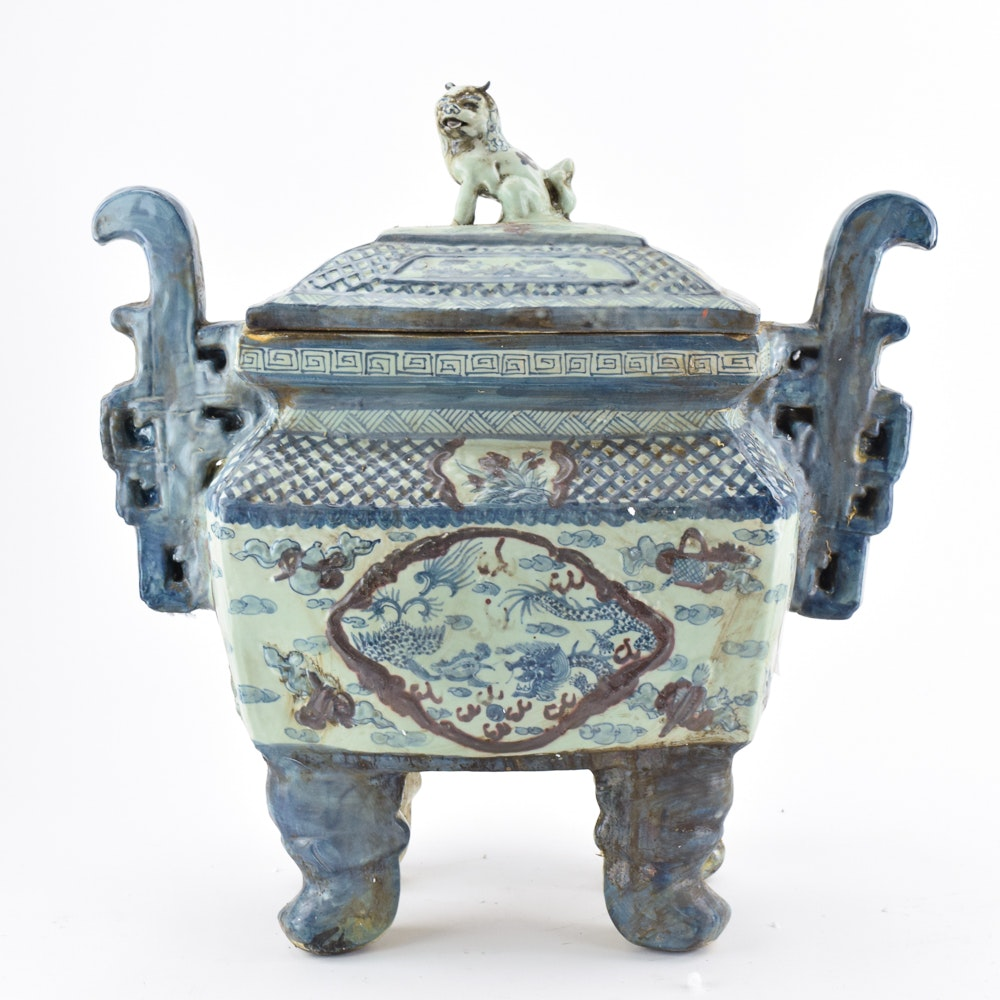 Chinese Ceramic Censer with Guardian Lion Finial