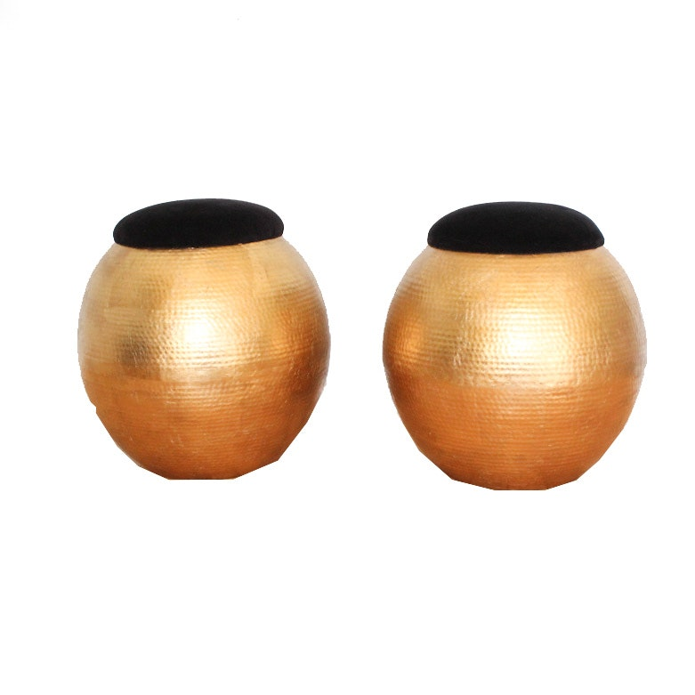 Pair of Golden Orb Stools with Black Seats