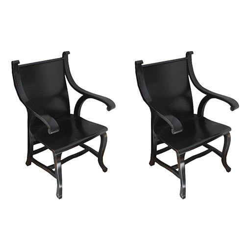 Pair of Modern Black Cabriole Armchairs