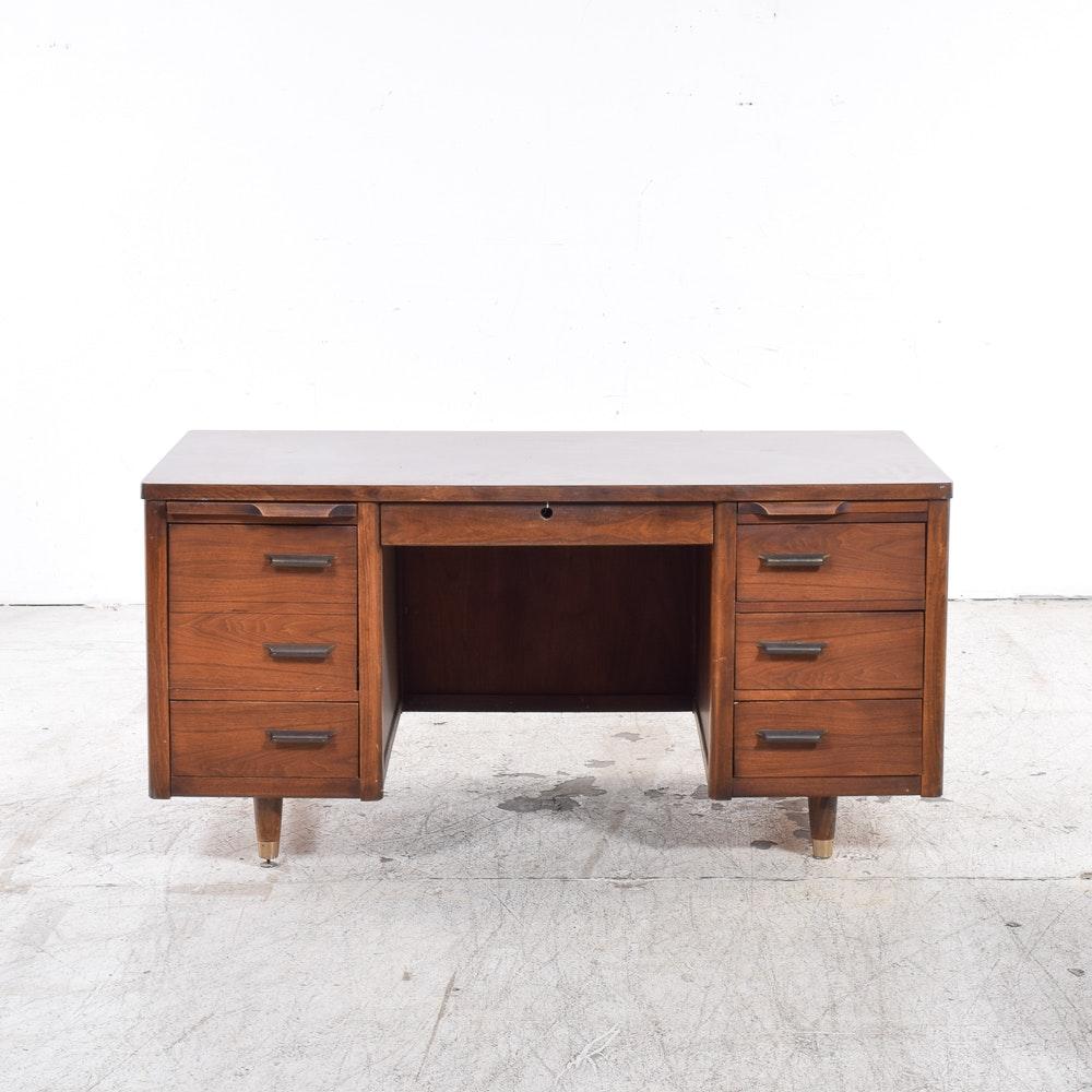 Vintage Jofco Mid Century Modern Walnut Executive Desk