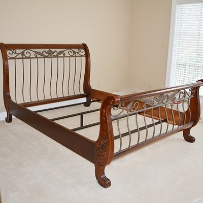 Queen Sleigh Bed With Decorative Scrollwork