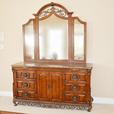 Neoclassical Style Dresser and Mirror