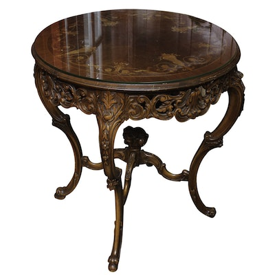 Vintage Italian Rococo Style Marquetry Center Table