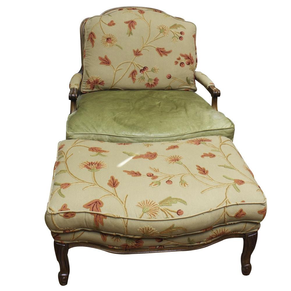 Fine Replica Louis XV Style Bergère Chair and Ottoman