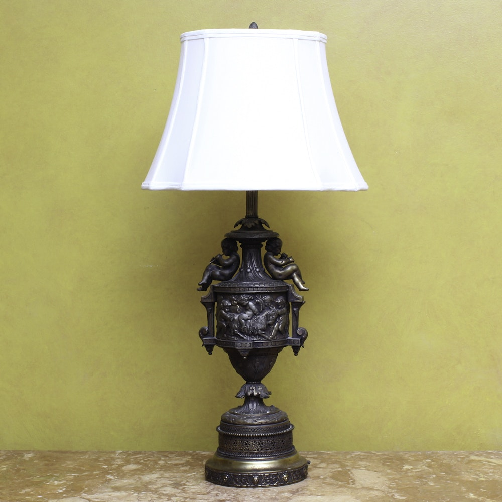 Vintage Brass Rococo-Style Table Lamp