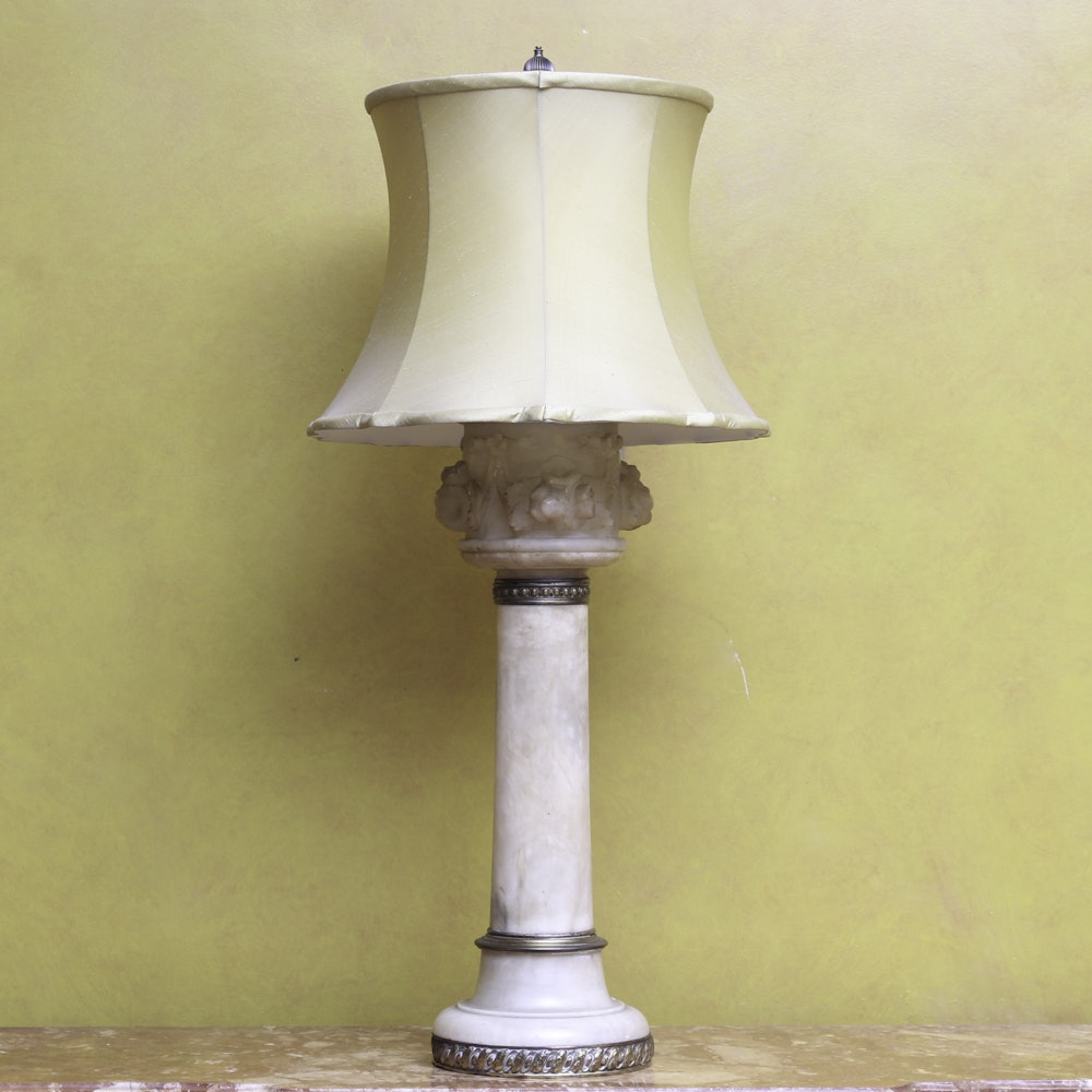 Neoclassical Polished Stone Table Lamp
