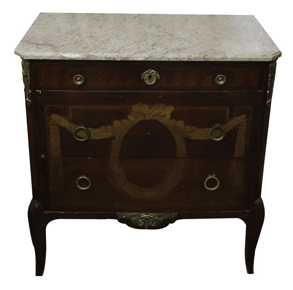Transitional Style Inlaid Chest of Drawers