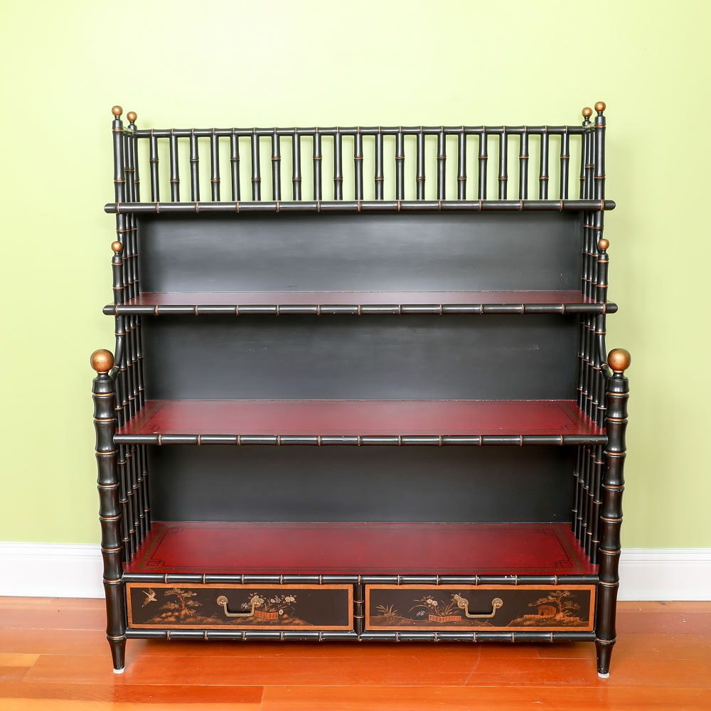 Asian Style Faux Bamboo Bookcase