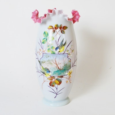 Antique Hand Painted Bristol Glass Vase