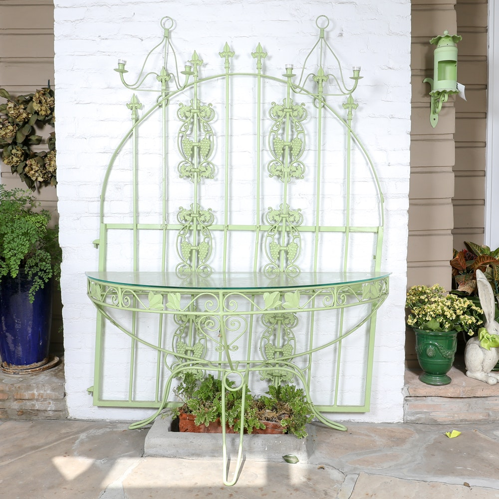Painted Wrought Iron and Glass Console Table with Gate Feature