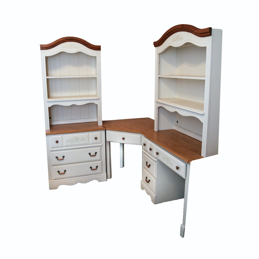 White Painted Pine Corner Desk With Chest Of Drawers And Hutches