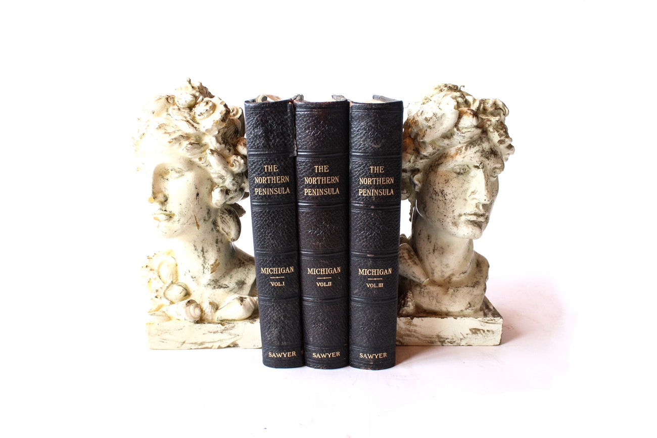 """""""The Northern Peninsula"""" Book Collection and Candlestick Bookends"""