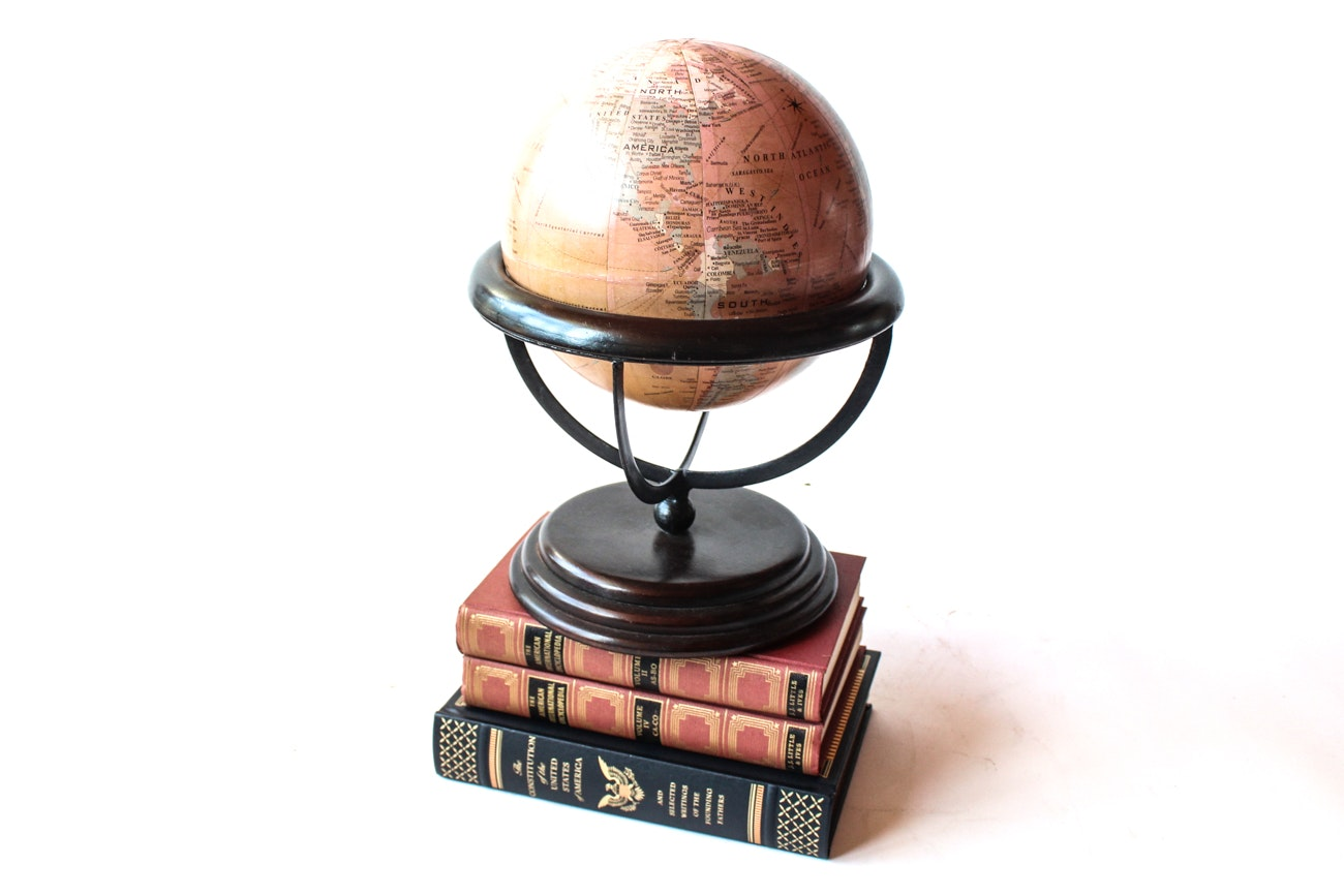 American Themed Books and Decorative Globe