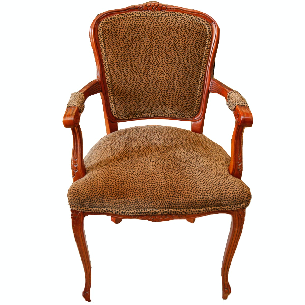 Louis XV Style Fauteuil Accent Chair with Velour Upholstery
