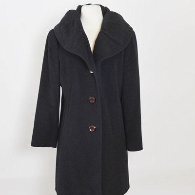 Women's Ellen Tracy Black Wool and Angora Blend Coat