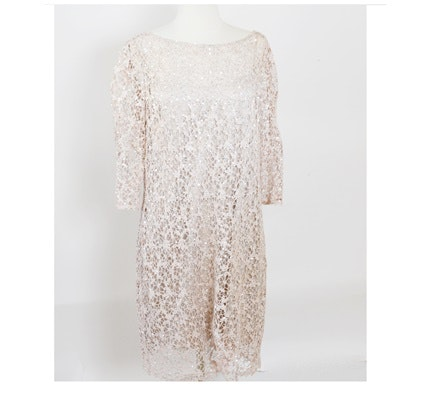 Kay Unger New York Rose-Blush Crochet Lace Evening Dress Embellished in Sequins