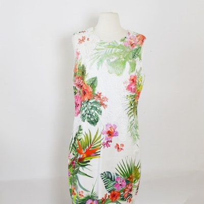 Elie Tahari Tropical Print Sheath Dress