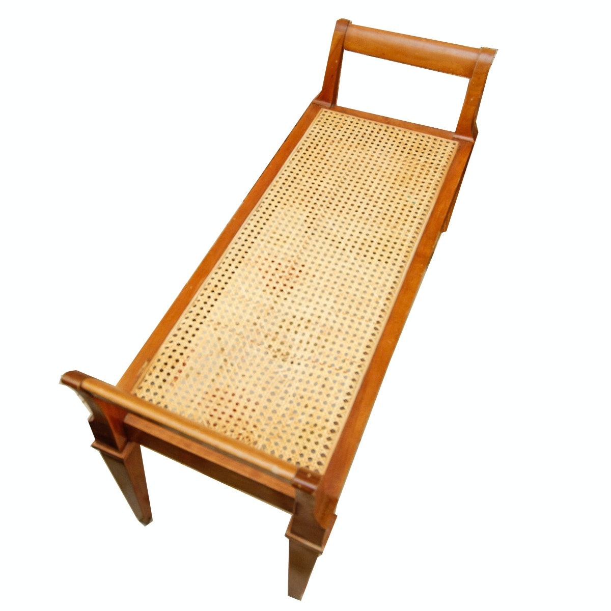 Backless Wooden Bench with Cane Seat