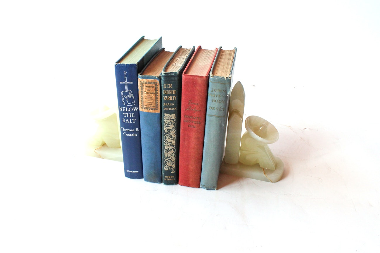 Vintage Novels with Stone Bookends