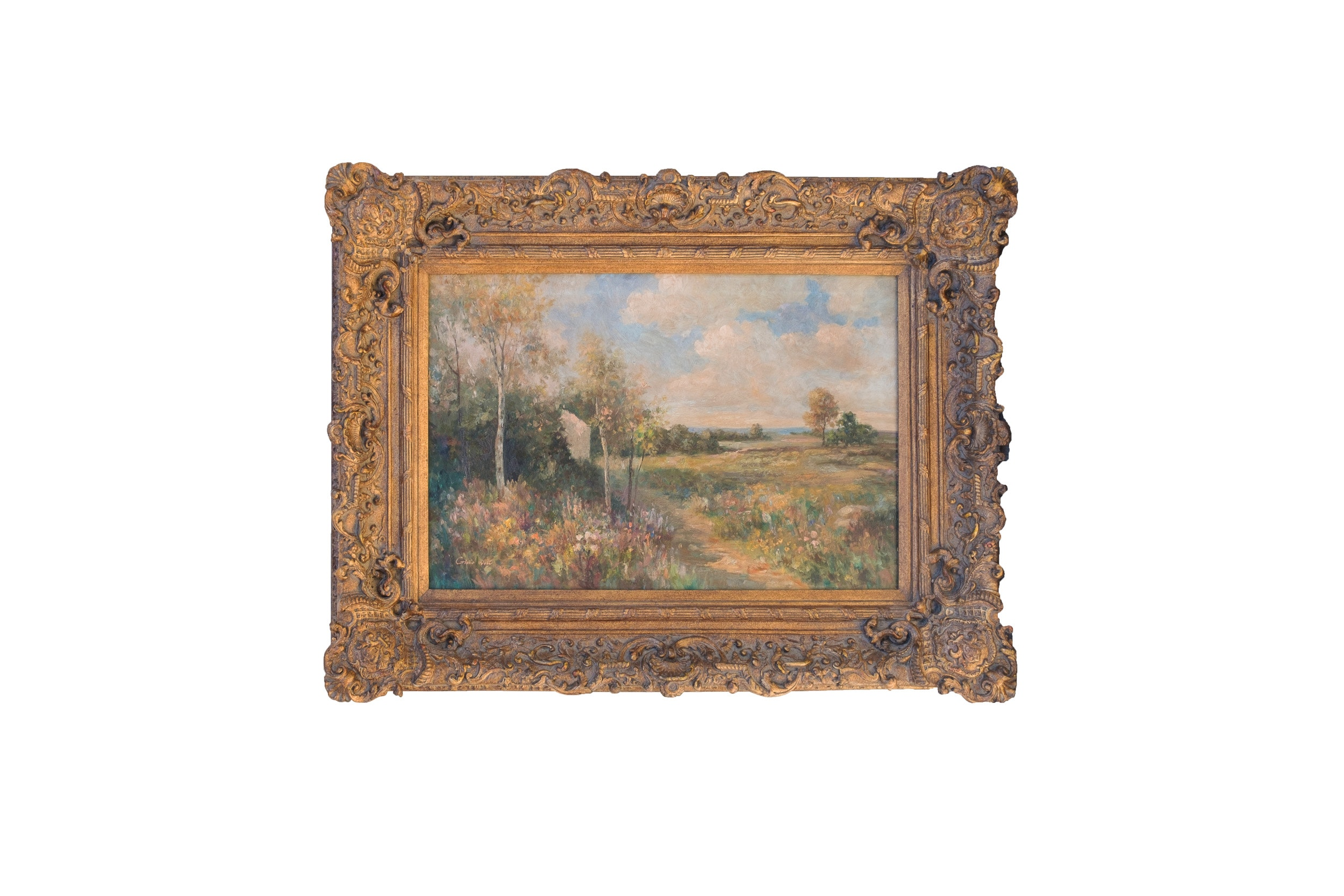 Giulio West Impressionist-Inspired Oil Painting of Landscape with Spring Flowers