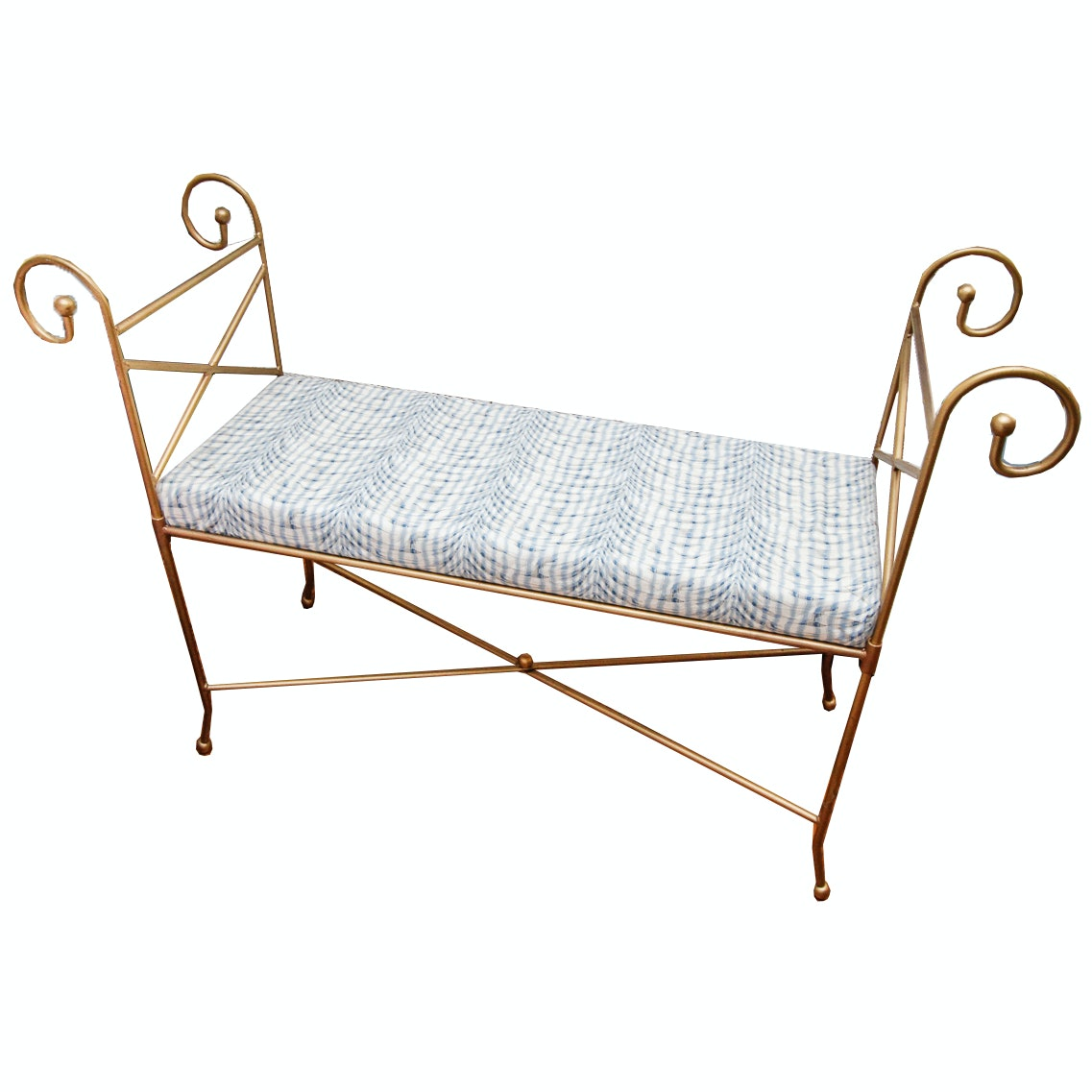 Backless Metal Bench with Scroll Arms