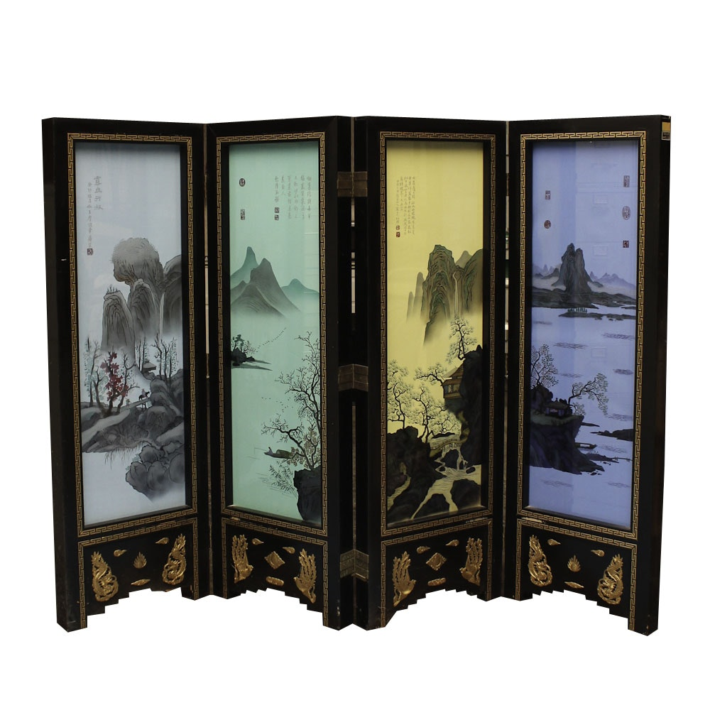 Chinese Style Painted Silk and Glass Lighted Folding Screen
