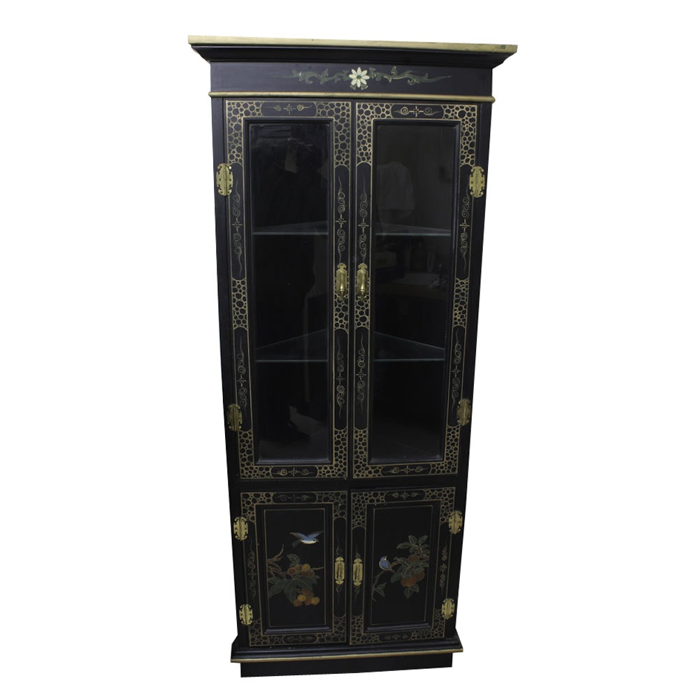 Chinoiserie Decorated Corner Display Cabinet