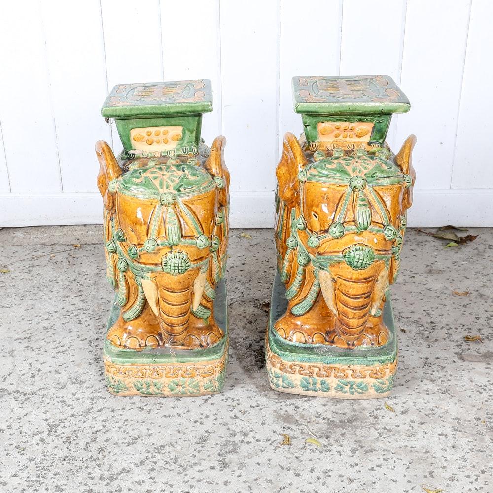 Chinese Ceramic Garden Tabletop Elephants