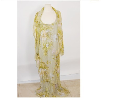 Victoria Full-Length Embellished Silk Dress in Florals with Shoulder Wrap